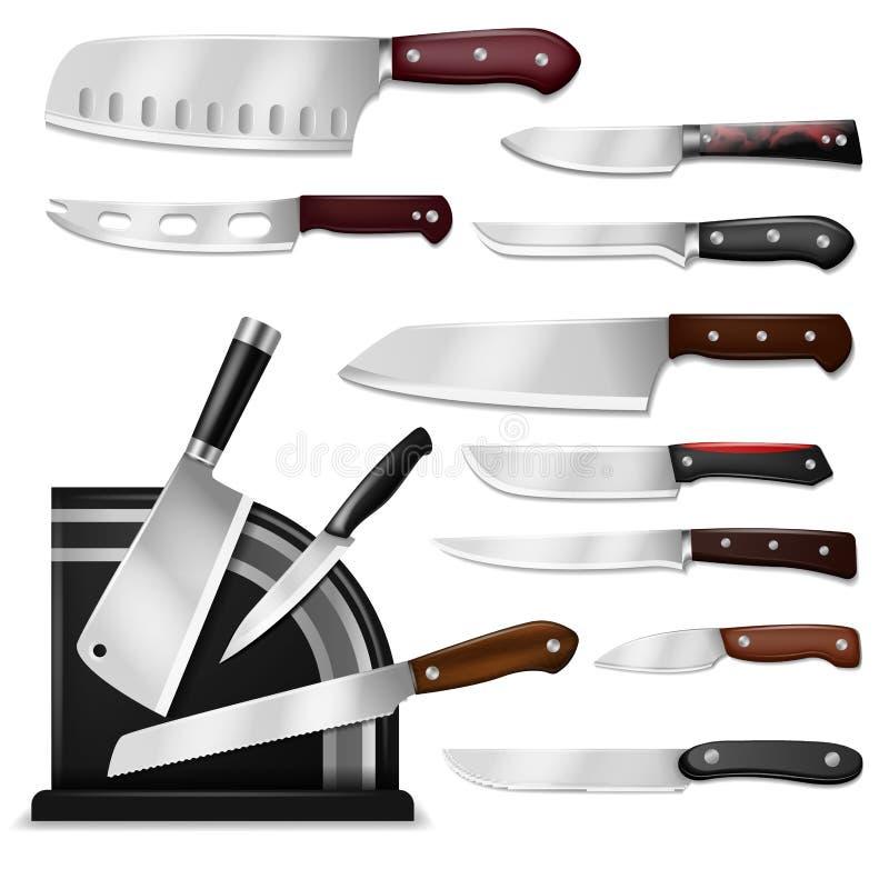 Gesetzter Chefausschnitt des Messervektor-Metzgerfleisch-Messers mit Küche Drawknife oder Spalter und scharfe knifepoint Illustra stock abbildung