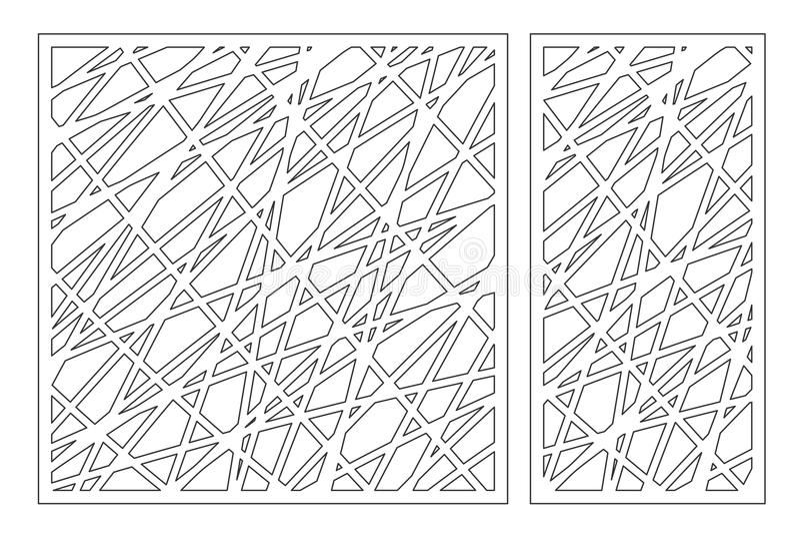 Gesetzter dekorativer Plattenlaser-Ausschnitt Hölzernes Panel Elegantes modernes geometrisches abstraktes Muster Verhältnis1:2, 1 vektor abbildung