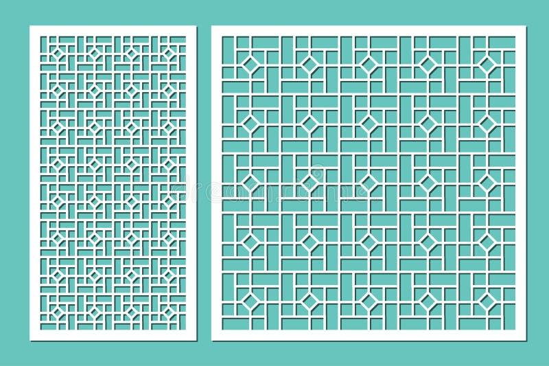 Gesetzter dekorativer Plattenlaser-Ausschnitt Hölzernes Panel Elegantes modernes geometrisches Muster von Linien Verhältnis1:2, 1 stock abbildung