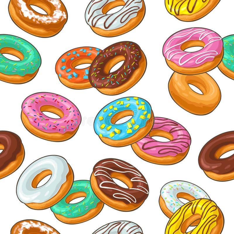 Gesetzter Donut des nahtlosen Musters mit unterschiedlicher Zuckerglasur, Glasur, streift, besprüht vektor abbildung