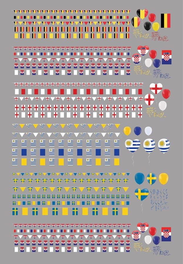 Gesetzter Flaggenvektor der Feier-Partei-Fahne für internationale Welt stock abbildung