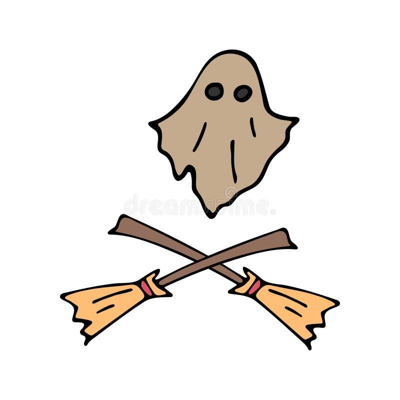 Gesetzter Fliegengeist der glücklichen Halloween-Farbvektorikone, Hexenbesen Trick oder Festlichkeit Nettes Gekritzel, gespenstis lizenzfreie abbildung