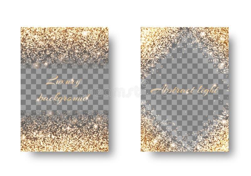 Gesetzter goldener heller transparenter Hintergrund lizenzfreie abbildung