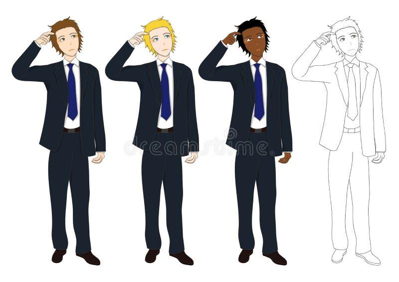 Gesetzter hübscher Geschäftsmann, der denkt, um Entscheidung zu treffen Volle Körper-Vektor-Illustration vektor abbildung