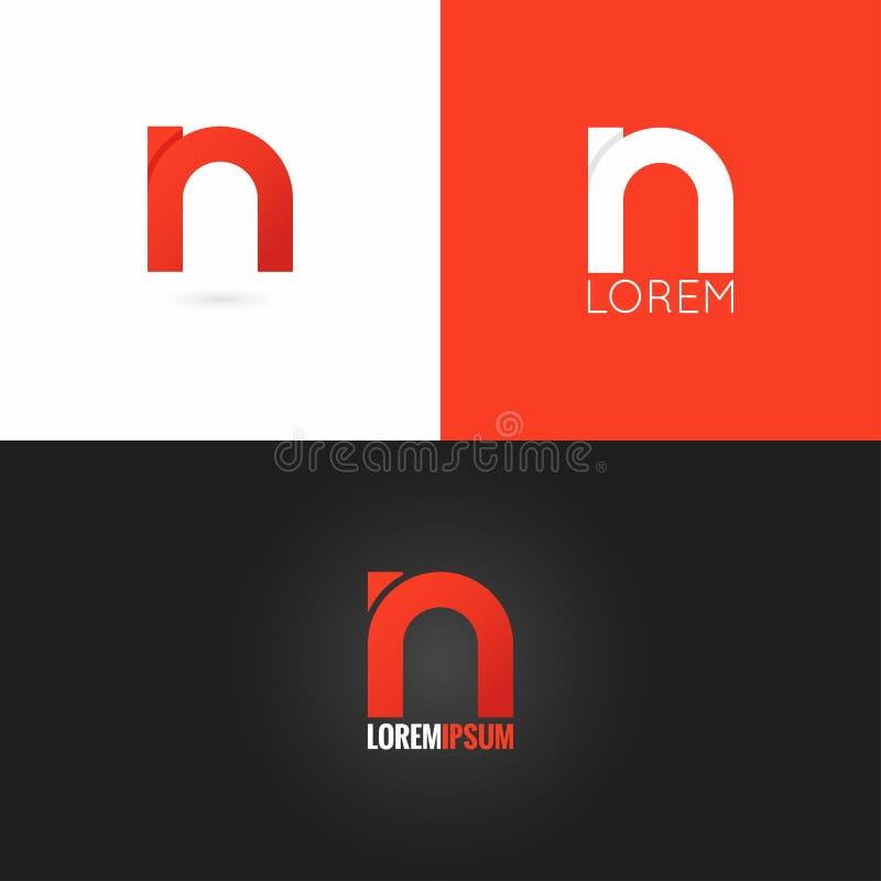Gesetzter Hintergrund der Buchstabe- Nlogodesign-Ikone stock abbildung