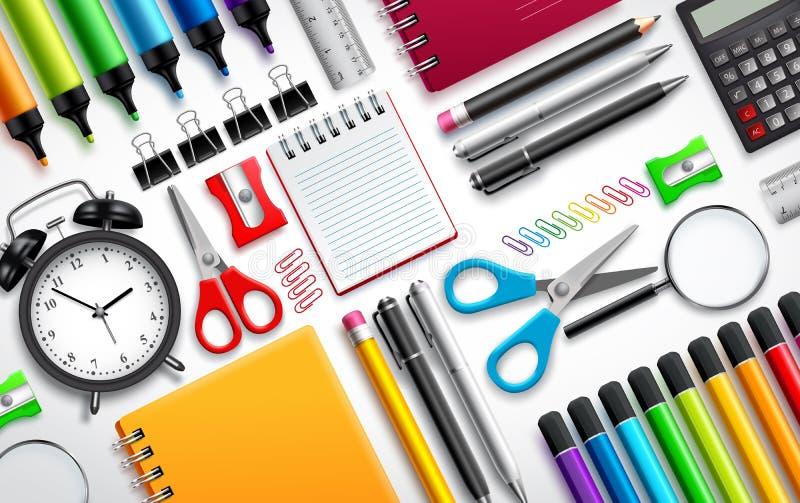 Gesetzter Hintergrund des Schul- und Büroartikelvektors mit bunten Schuleinzelteilen vektor abbildung