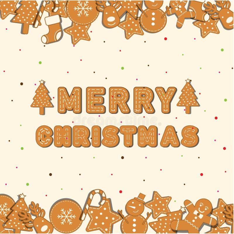 Gesetzter Platz der Plätzchen-Weihnachtsikone auf Hintergrund und Charakter der frohen Weihnachten lizenzfreie abbildung