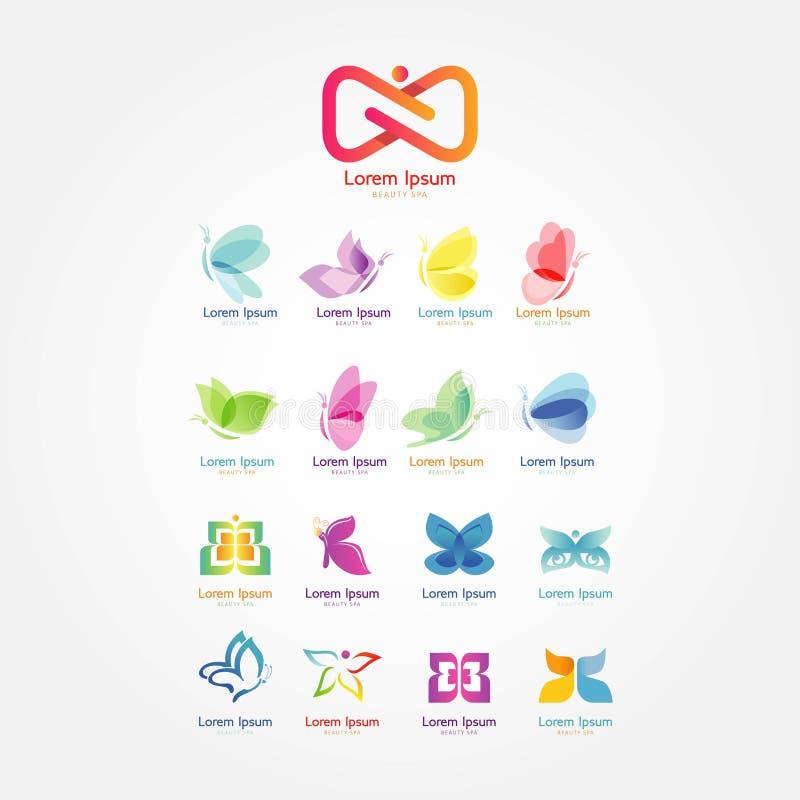 Gesetzter Schönheitsbadekurort-Logovektor stock abbildung