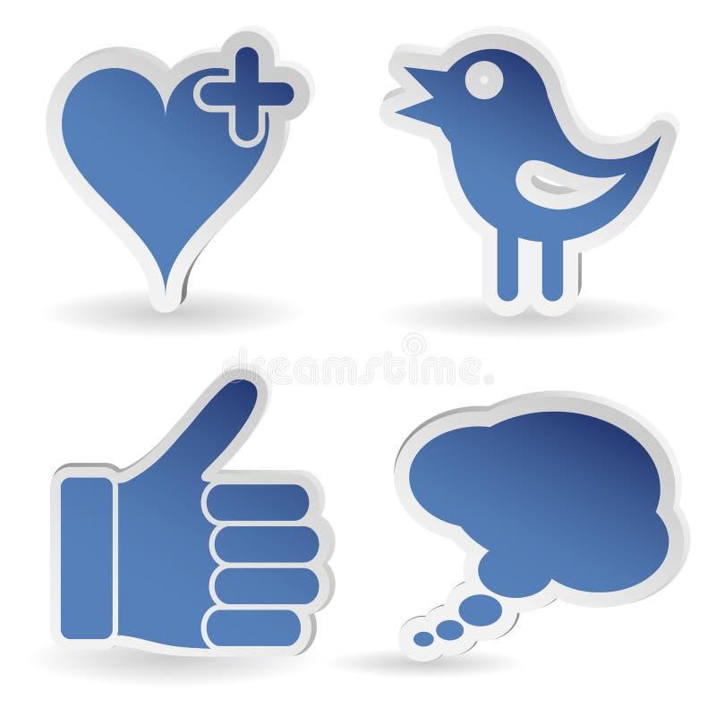 Gesetzter Sozialmedia-Aufkleber stock abbildung