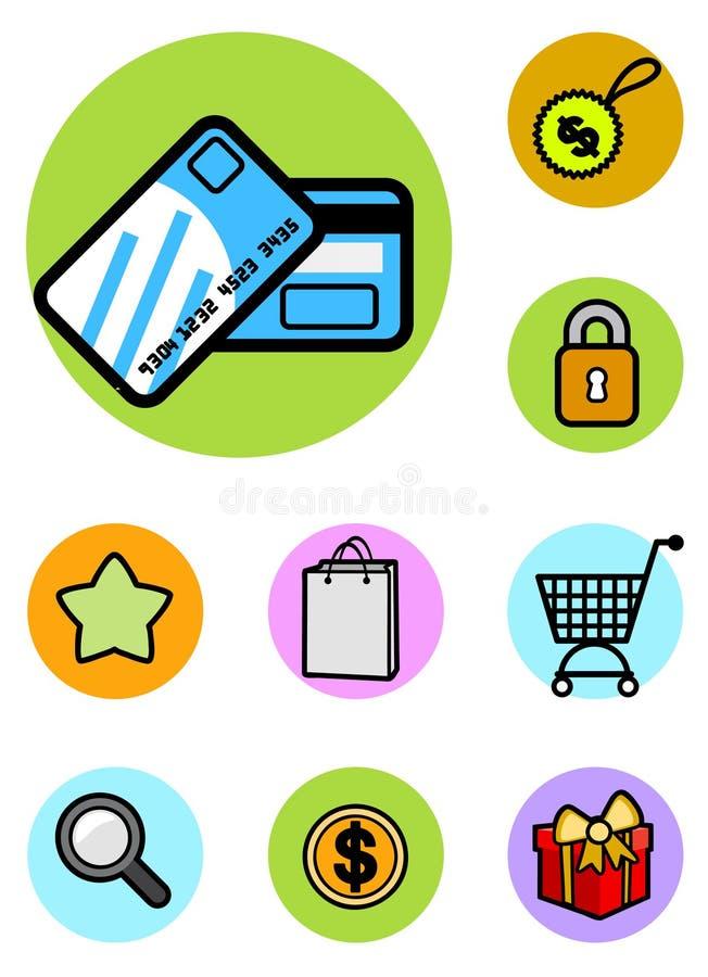 Gesetzter Vektor der Einkaufenikone stock abbildung