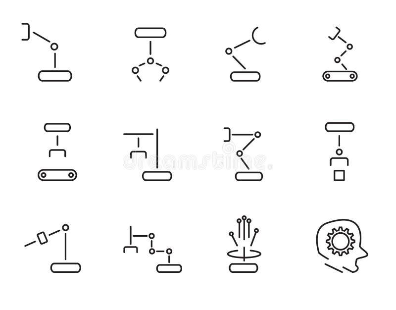 Gesetzter Vektor der Roboterarm-Ikone Zeichen- und Symbolkonzept Technologie- und Technikkonzept D?nne Linie Ikonenthema Wei? lok vektor abbildung
