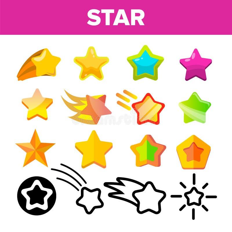 Gesetzter Vektor der Sternikone Goldhelle Stern-Ikonen Himmel-Kosmos-Gegenstand Bewertungszeichen Sieger-Form Linie, flache Illus lizenzfreie abbildung