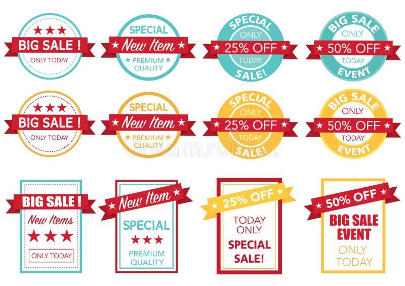 Gesetzter Vektor des Verkaufspreistags lizenzfreie abbildung