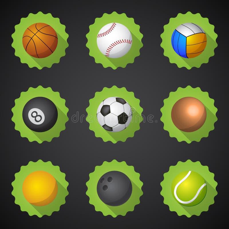 Gesetzter Vektor flacher Ikone Sport-Ball-Fußball-Fußball Voleyball usw. stock abbildung