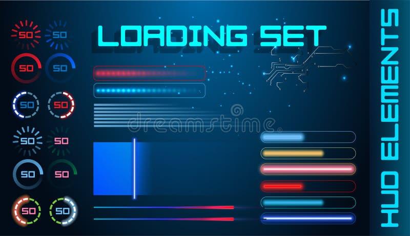 Gesetzter Vektor-Hintergrund HUD Futuristic Element Loading Barss Abstrakte große Satz-Benutzerschnittstellen-Fortschritts-Monito stock abbildung