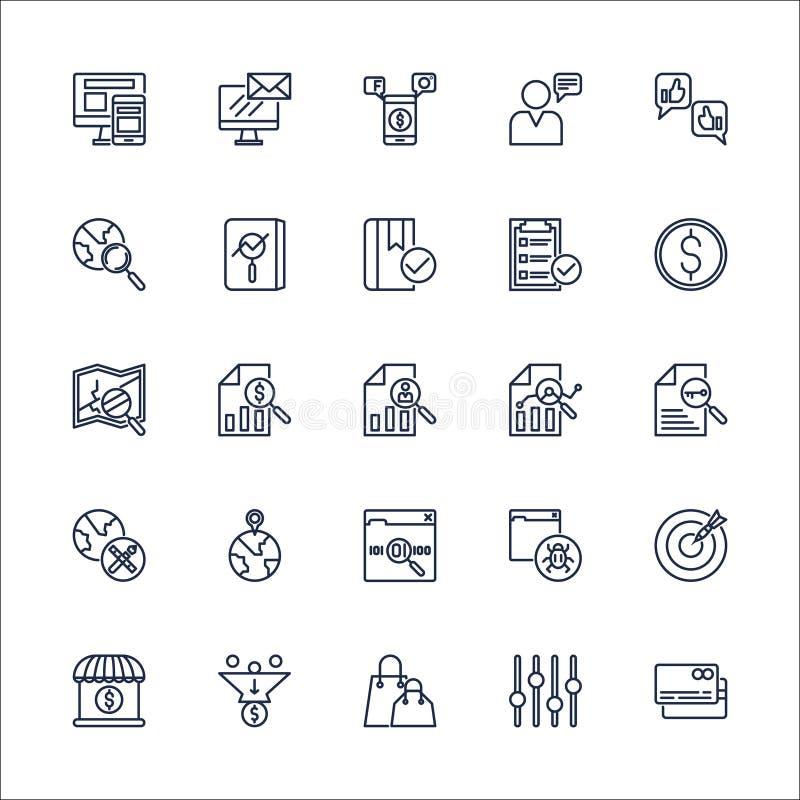 Gesetzter Vektor SEO Outline Iconss stockfotos