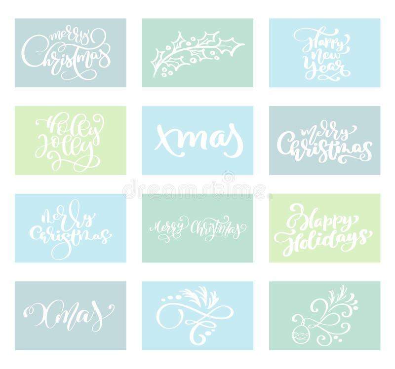 Gesetzter Vektortext kalligraphische Briefgestaltungs-Kartenschablone der frohen Weihnachten Kreative Typografie für Feiertagsgru lizenzfreie abbildung