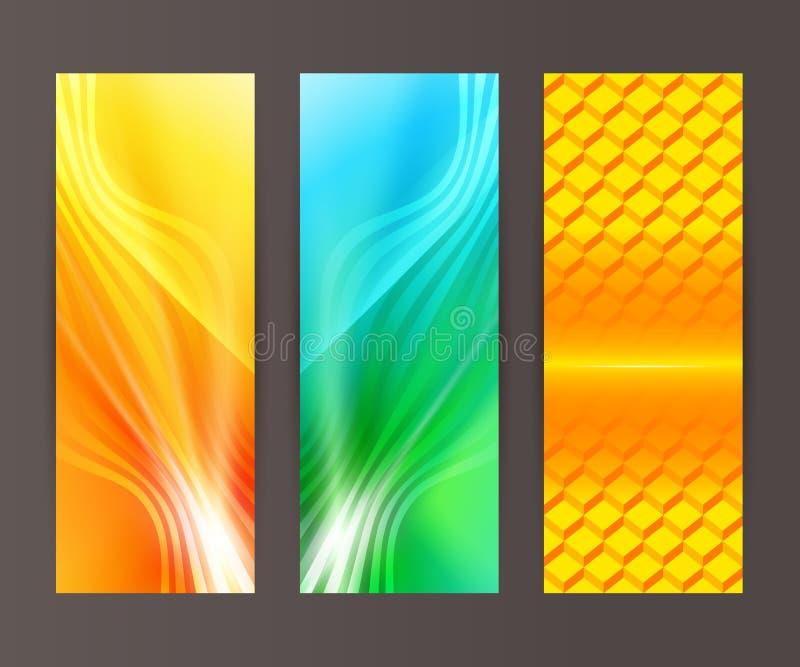 Gesetzter vertikaler Fahnenhintergrund-Schablonenplan flyer56 vektor abbildung