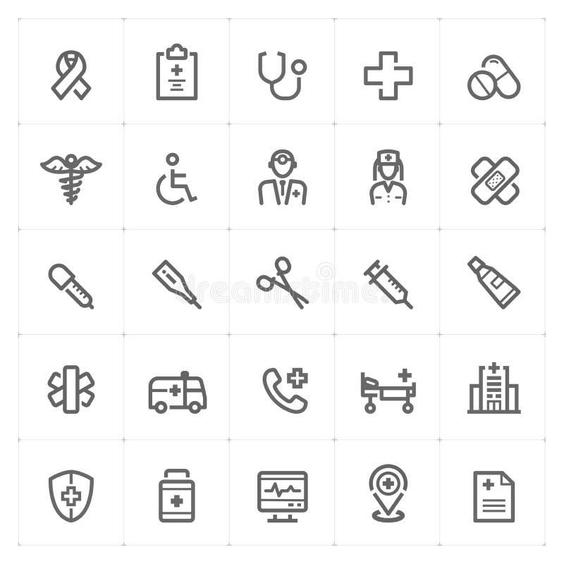 """Gesetztes †Mini Icons """"Gesundheitswesen und medizinische Ikone vector Illustration vektor abbildung"""