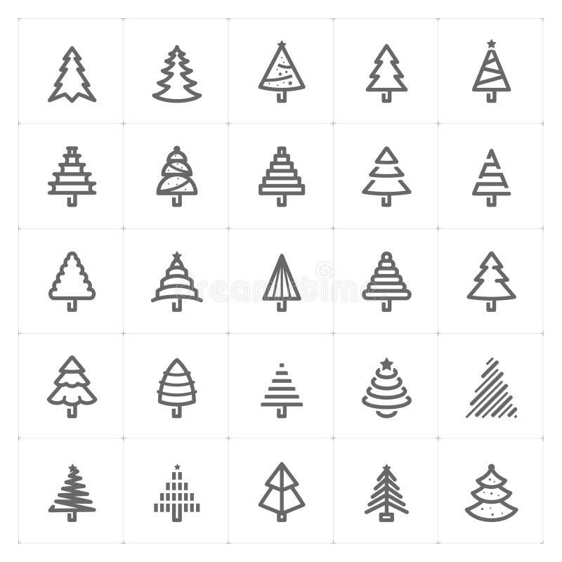 "Gesetztes †Mini Icons ""Weihnachtsbaum-Ikonenvektorillustration stock abbildung"