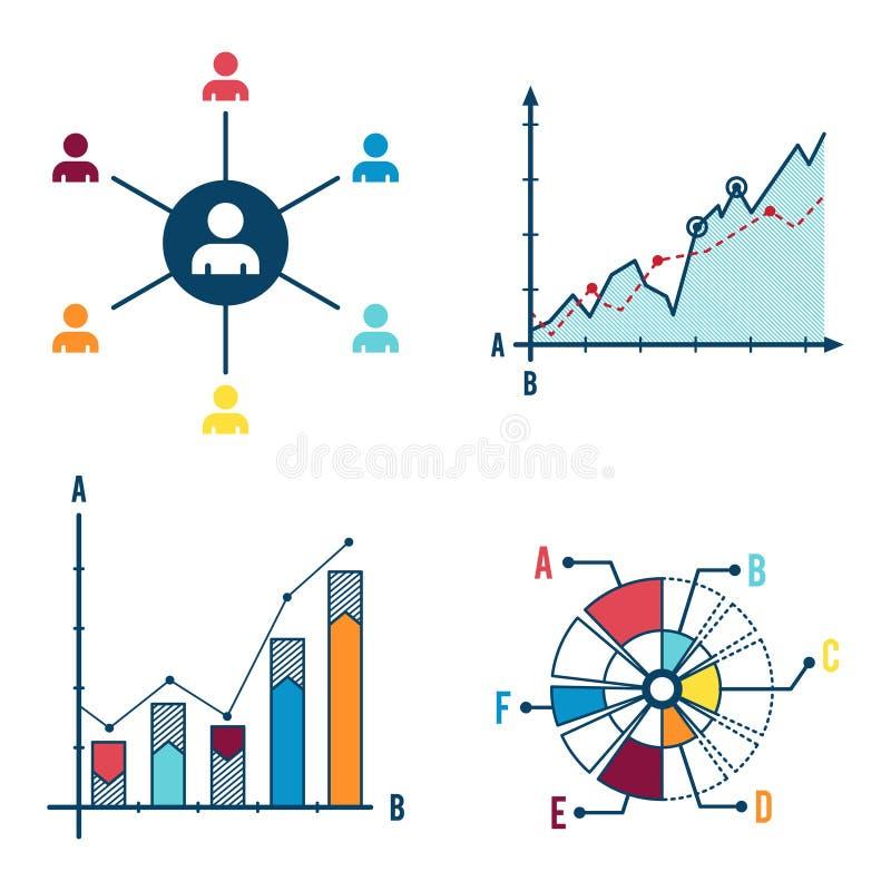 Gesetztes abstraktes infographic Elementkonzept mit Stadiums- und Teilelementen lizenzfreie abbildung