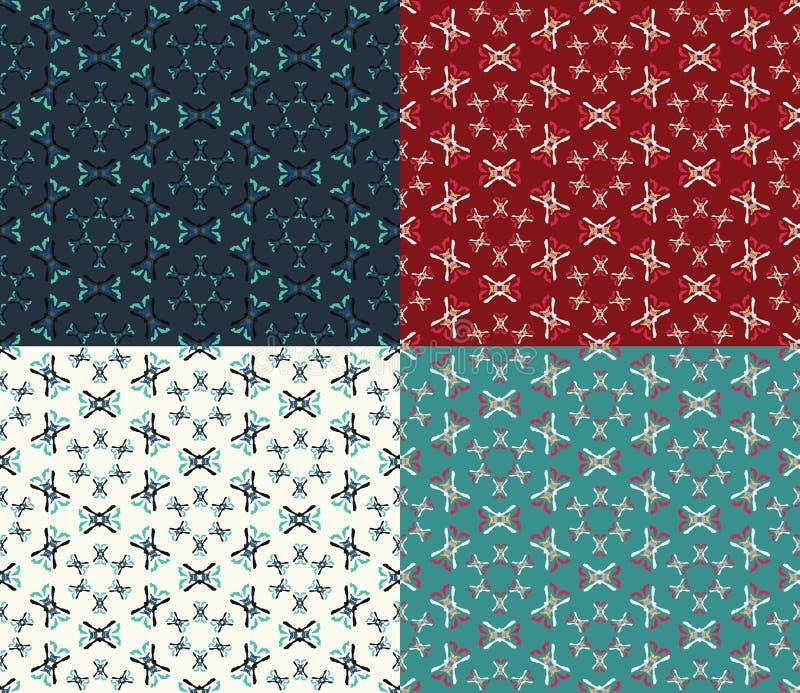 Gesetztes abstraktes nahtloses Muster in unterschiedlicher Farbe vier stock abbildung