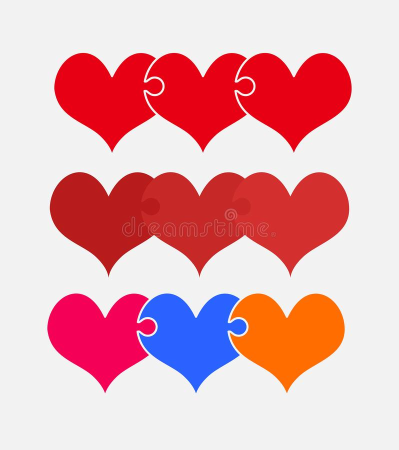 Gesetztes buntes Stückpuzzlespiel von romantischen Herzen lizenzfreie abbildung