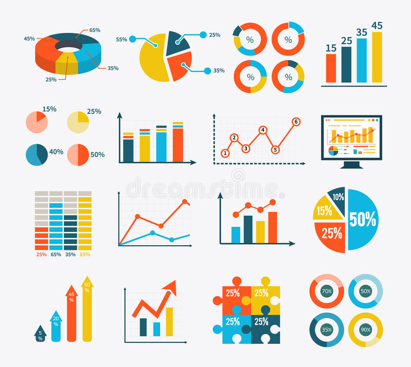 Gesetztes Diagramm Infographic und Diagramme, Diagramme lizenzfreie abbildung