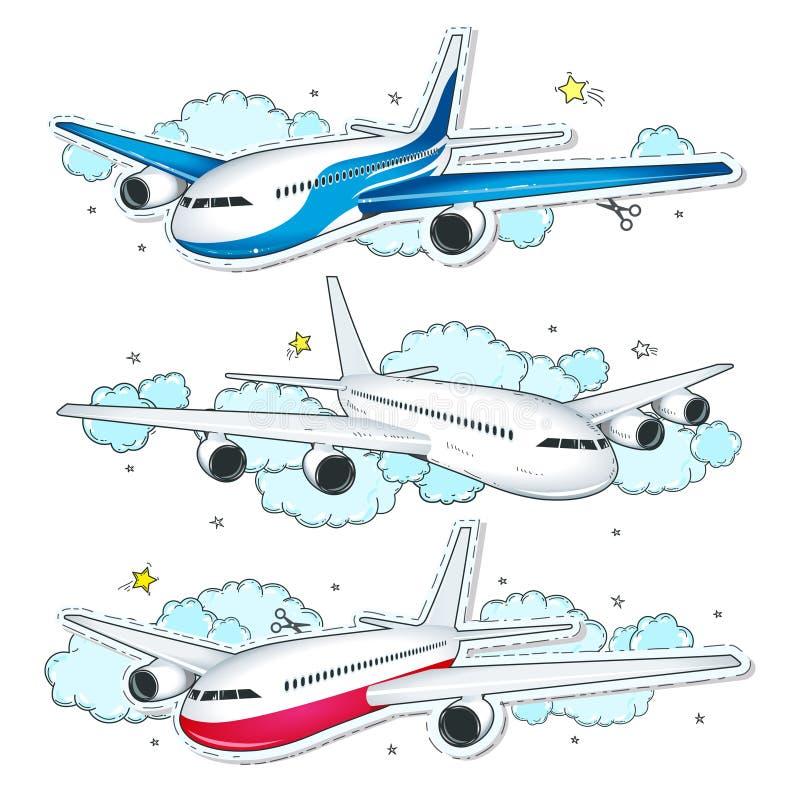 Gesetztes Flugzeug des Vektors, von bunten Ikonen der komischen Art planiert stock abbildung