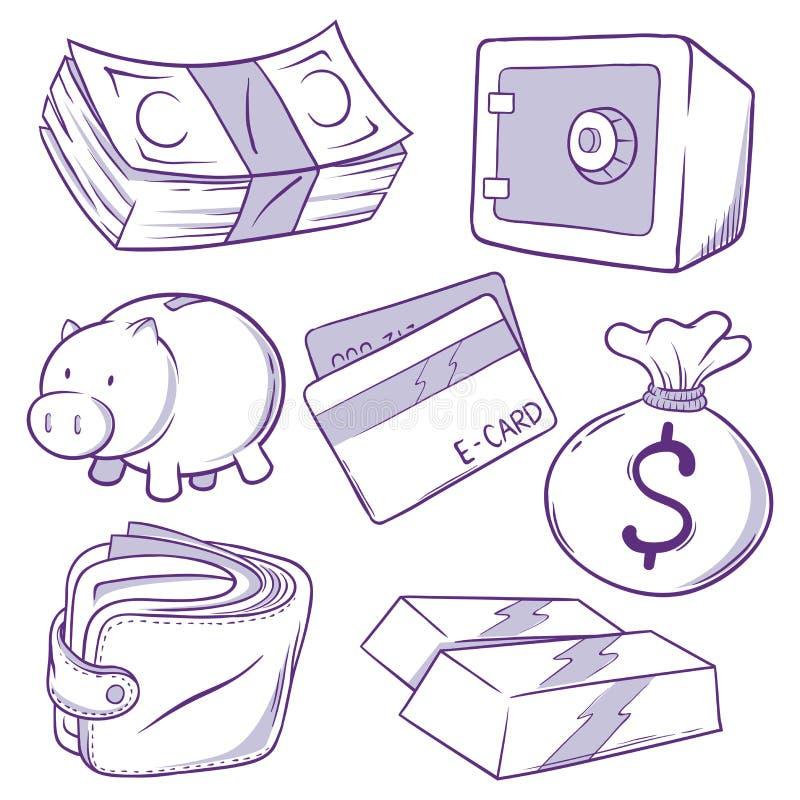 Gesetztes Geld-Ikonen-Gekritzel lizenzfreie abbildung