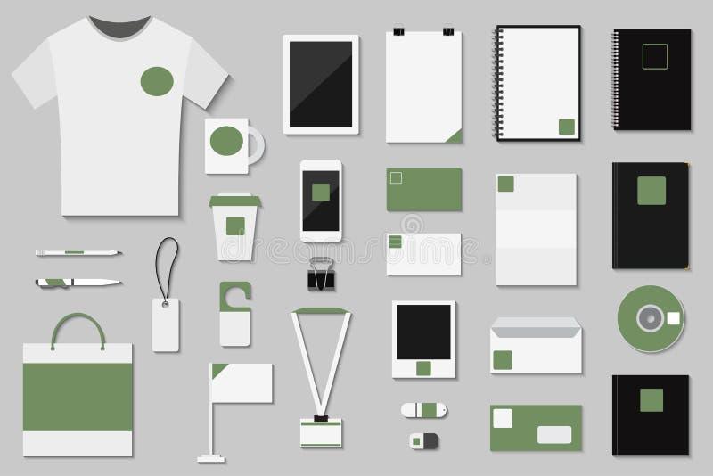 Gesetztes Geschäft des Markenidentitäts-Schablonenvektors, das Unternehmensmodelldesign mit neuem eingebranntem Umschlag des Buch vektor abbildung
