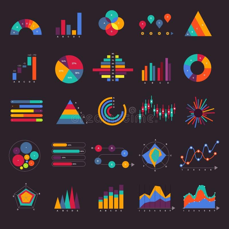 Gesetztes Geschäftsdiagramm des Vektors und infographic Diagramm des Diagramms Flaches De lizenzfreie abbildung