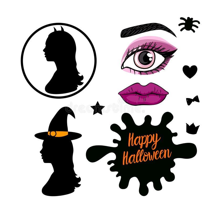 Gesetztes glückliches Halloween-Design Weibliches Schattenbild der Seitenansicht der Hexe Vektorabbildung auf weißem Hintergrund vektor abbildung