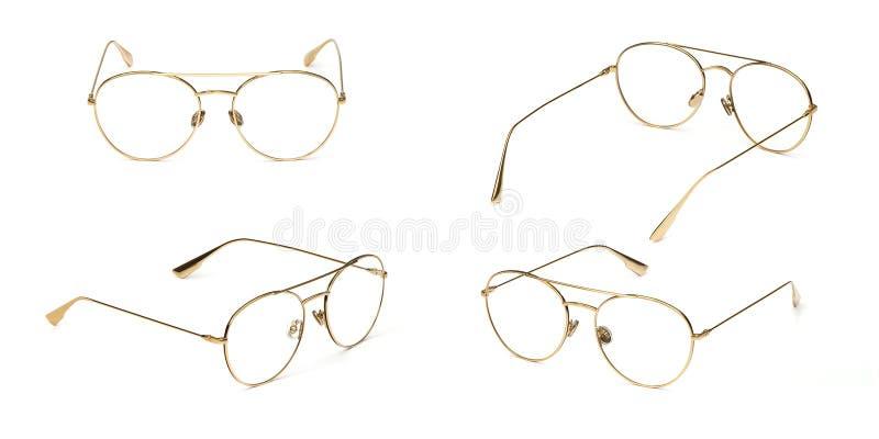 Gesetztes Glasgoldmetallmaterielles Geschäfts-Arttransparentes lokalisiert auf weißem Hintergrund Sammlungsmodebüro-Augengläser stockfotos