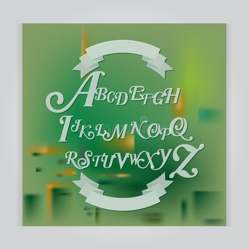 Gesetztes handgeschriebenes Bürstenskript des Vektors Weiße Buchstaben auf Grün lizenzfreie abbildung