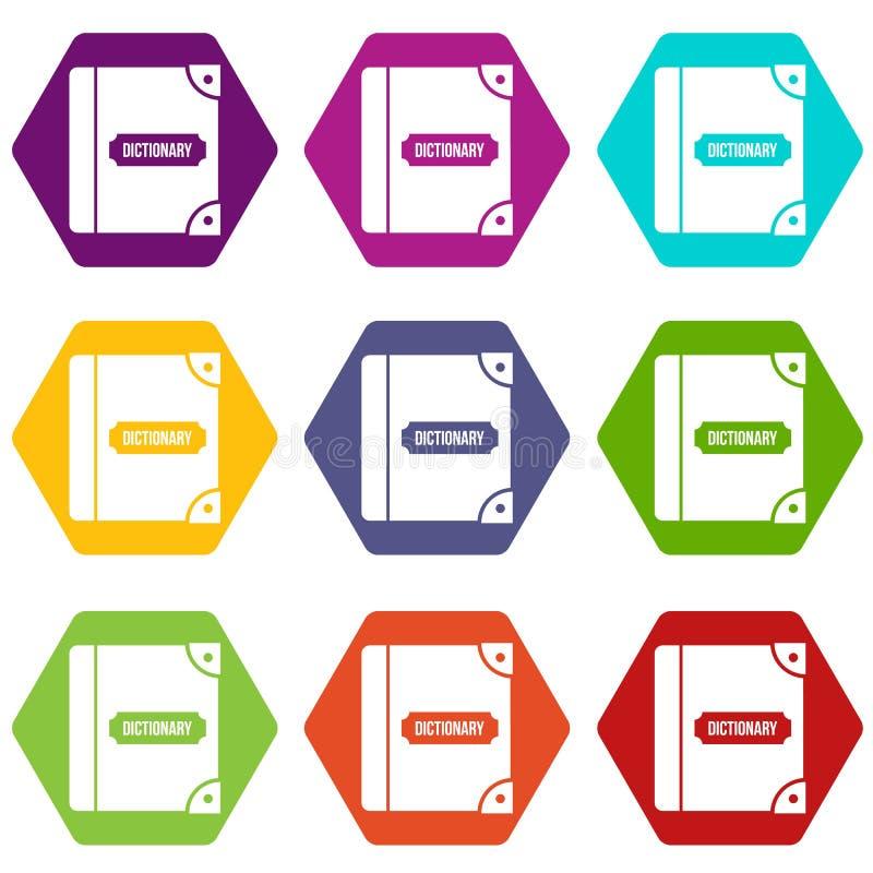 Gesetztes hexahedron Farbe der englischen Wörterbuchikone stock abbildung