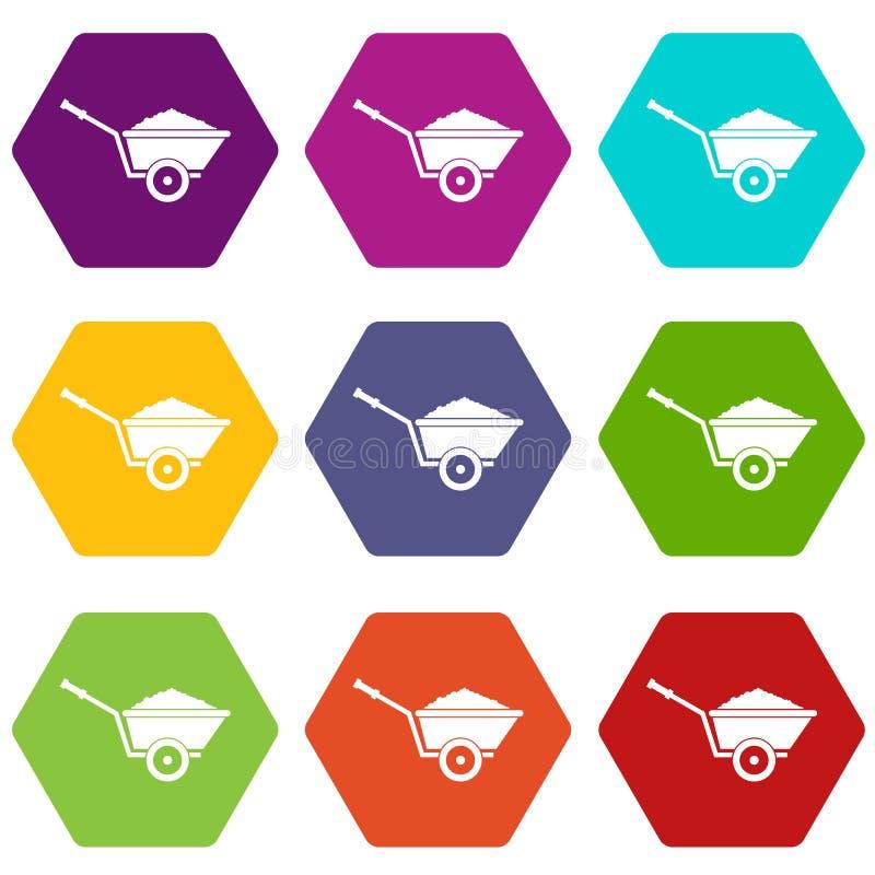 Gesetztes hexahedron Farbe der Gartenschubkarreikone stock abbildung