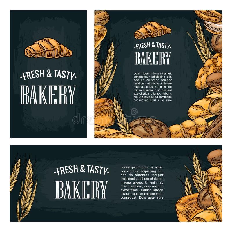 Gesetztes horizontales, vertikal und quadratisch und Poster mit Brot lizenzfreie abbildung
