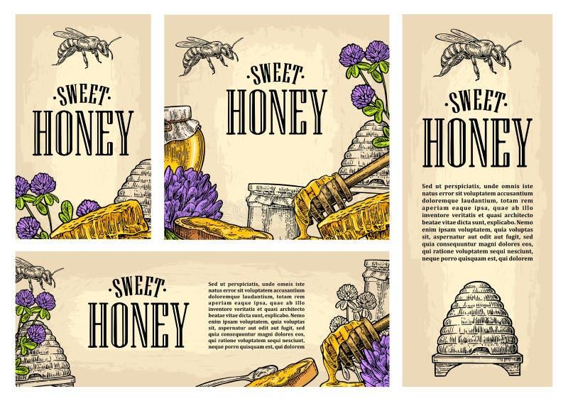 Gesetztes horizontales, vertikal und quadratisch und Poster mit Honig vektor abbildung