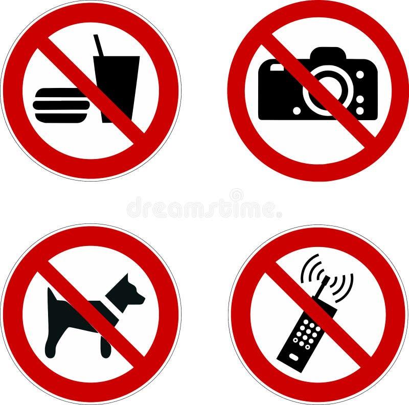 Gesetztes Lebensmittel der Verbotszeichenikone, Hund, Telefon, Kameravektor I vektor abbildung