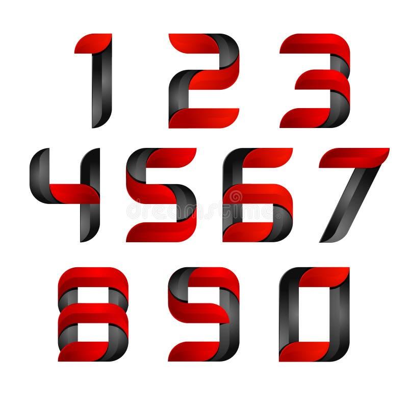 Gesetztes Logo der Zahl des Vektor-3d mit der Geschwindigkeit rot und schwarz Entwerfen Sie für Fahne, Darstellung, Webseite, Kar stock abbildung