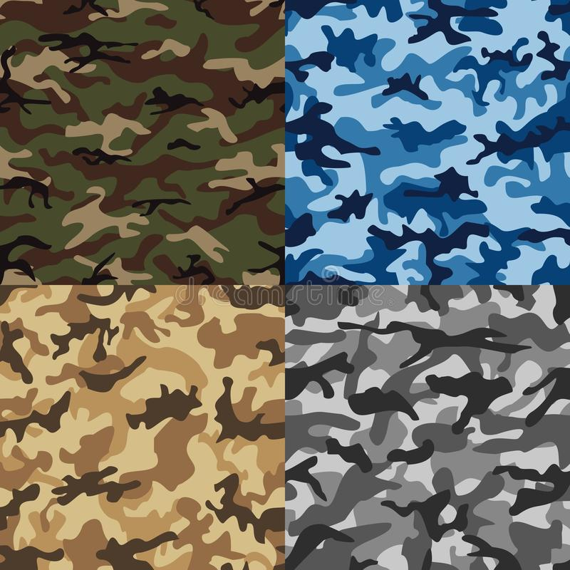Gesetztes nahtloses Muster der Tarnung in den mehrfachen Farben vektor abbildung
