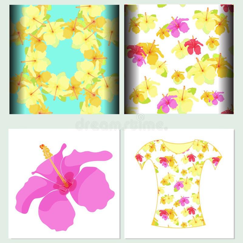 Gesetztes nahtloses Muster für T-Shirts Hibiscus Auch im corel abgehobenen Betrag stock abbildung