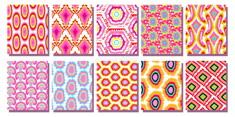 Gesetztes nahtloses Muster Rosa geometrisches Ikat-Hintergrund-Muster vektor abbildung