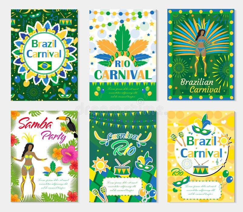 Gesetztes Plakat willkommenen Brasilien-Karnevals, Einladung Sammlungsschablonen für Ihr Design mit Maske, Hut, Federn brasiliani stock abbildung
