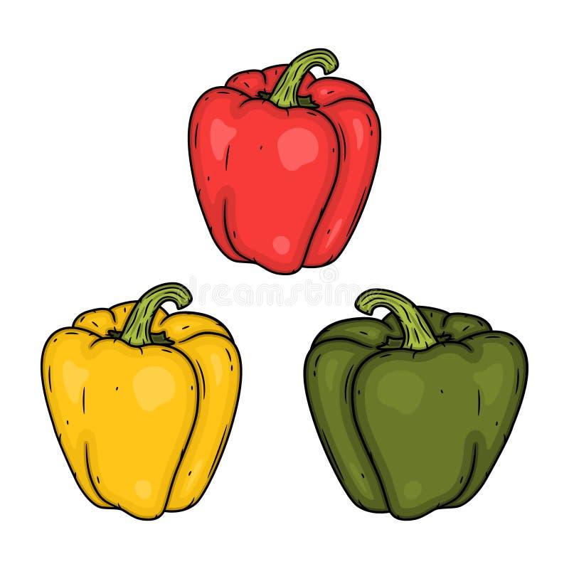 Gesetztes Rot, Gelb und grüner Paprika Auch im corel abgehobenen Betrag Lokalisierte Vektorillustration des Gemüsepaprikas lizenzfreie abbildung
