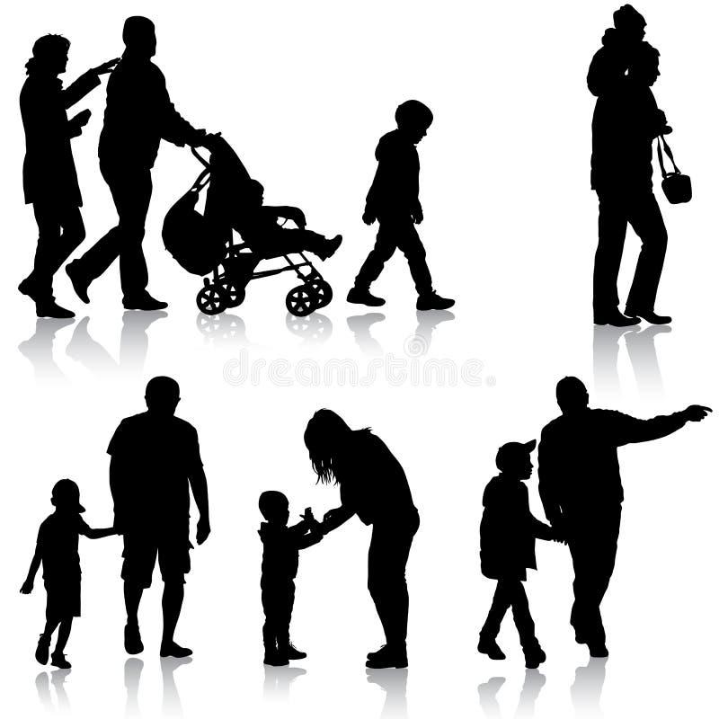 Gesetztes Schwarzes silhouettiert Familie mit Pram auf weißem Hintergrund Auch im corel abgehobenen Betrag vektor abbildung