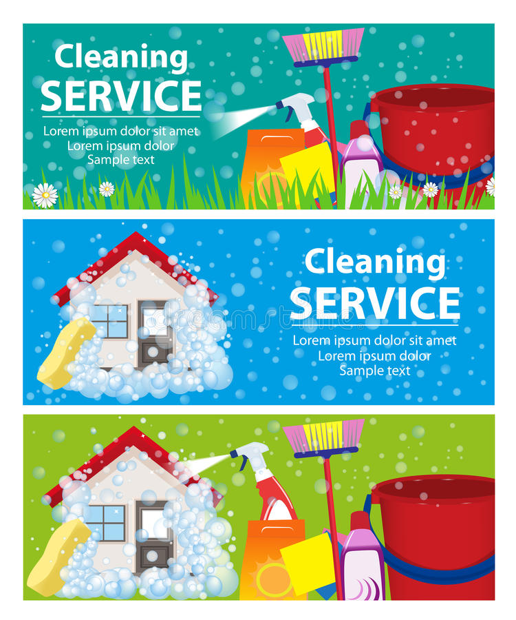 Gesetztes Service-Säubern der Fahne Ein sauberes Haus und ein Büro Vektor lizenzfreie abbildung