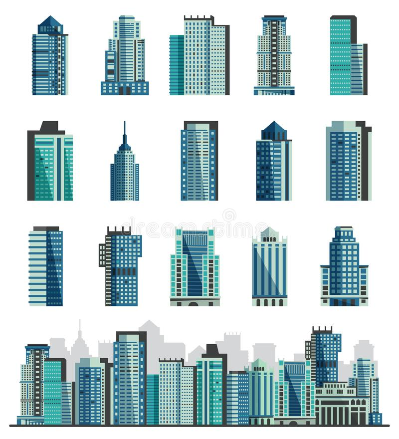 Gesetztes Stadtbild des Gebäudewolkenkratzer- oder -stadtskylinevektors mit Geschäft Officebuilding der Handelsgesellschaft und d stock abbildung