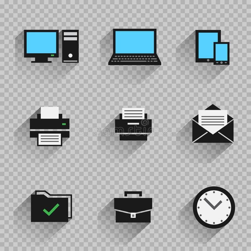 Gesetztes transparentes der flachen Ikone des Büros vektor abbildung